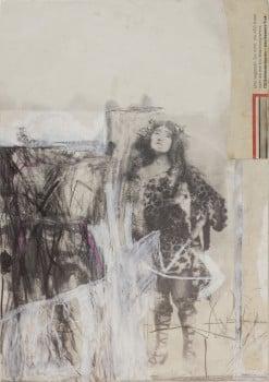 """נחום טבת, """"אישה נמר"""", 1969, קולאז' וטכניקה מעורבת על נייר, 35x24 ס""""מ"""