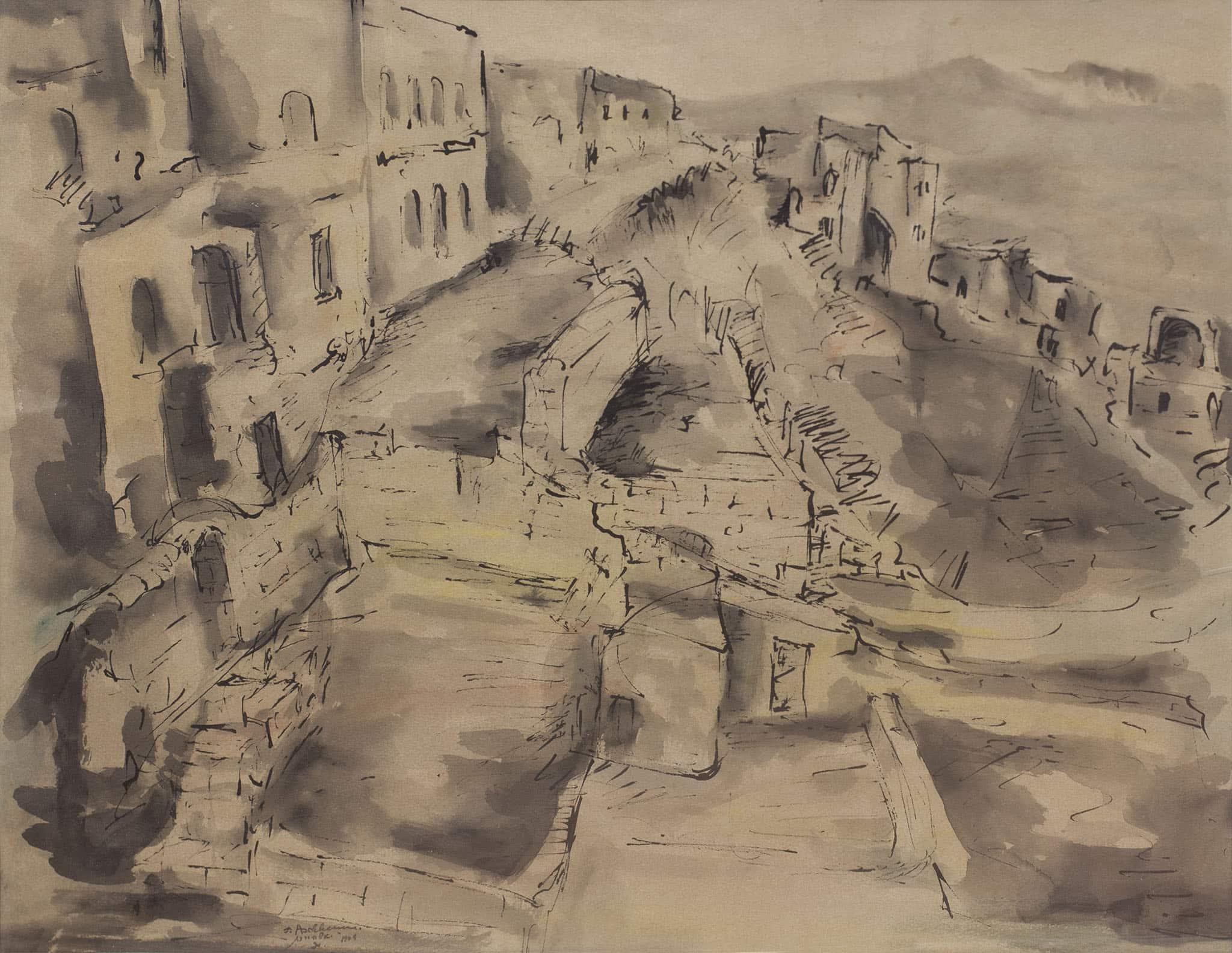 """איזידור אשהיים, """"נוף צפת"""", 1949, אקוורל ודיו על נייר, 41x53 ס""""מ"""