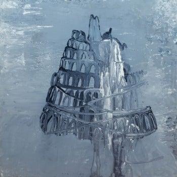 """עתליה שחר, """"מגדל בבל"""", 2011, אקריליק על עץ לבוד, 60×60 ס""""מ"""
