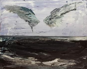 """עתליה שחר, """"כנפיים"""", 2009, אקריליק על עץ, 56x45 ס""""מ"""