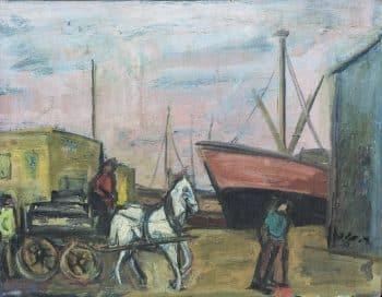 """רפאל מוהר, """"נמל תל-אביב"""", 1939, שמן על עץ, 48x58 ס""""מ."""