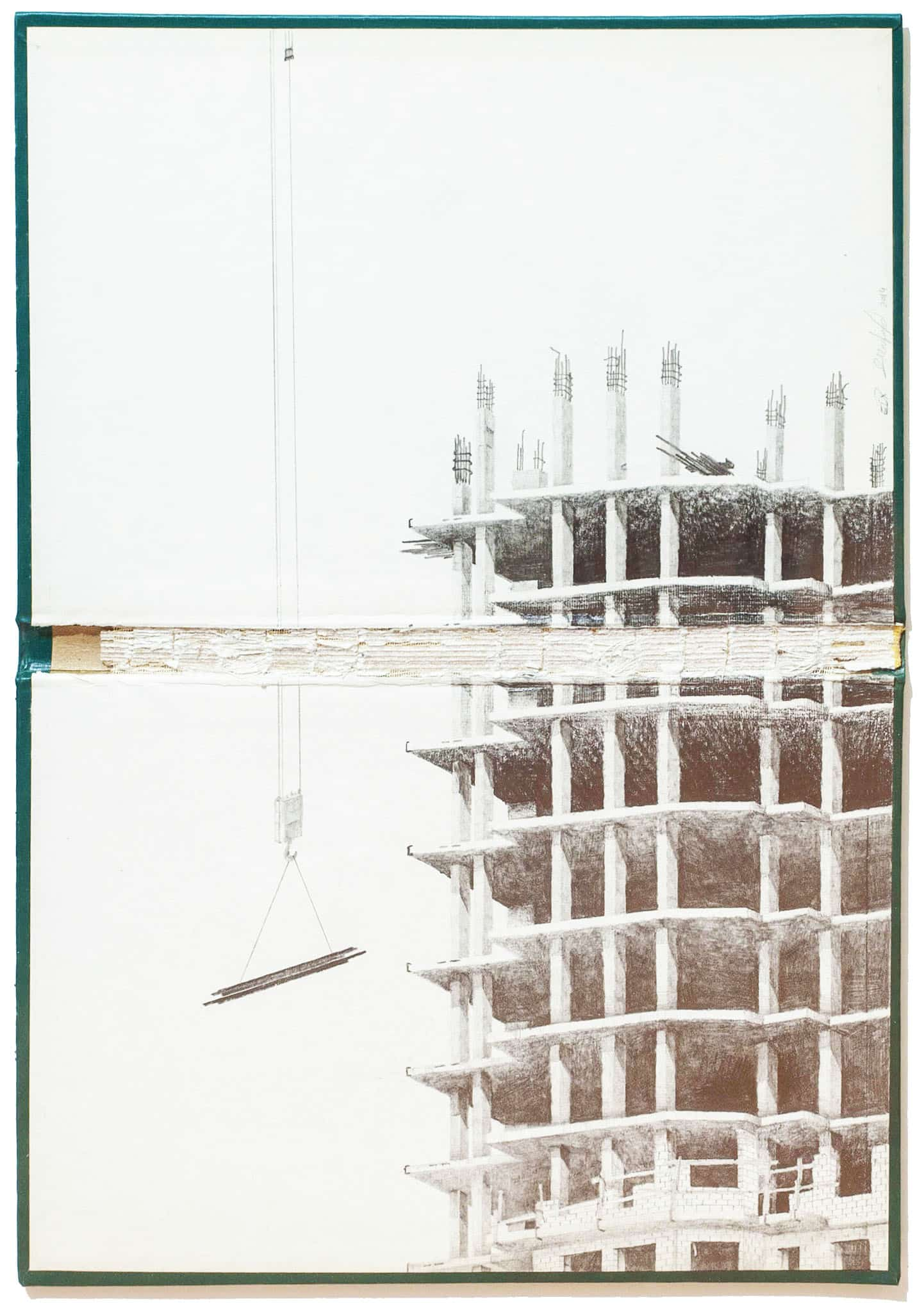 """אמיר תומשוב, """"Abyssus Abyssum Invocat XI"""", 2014, גרפיט על כריכת ספר, 31×44 ס""""מ"""