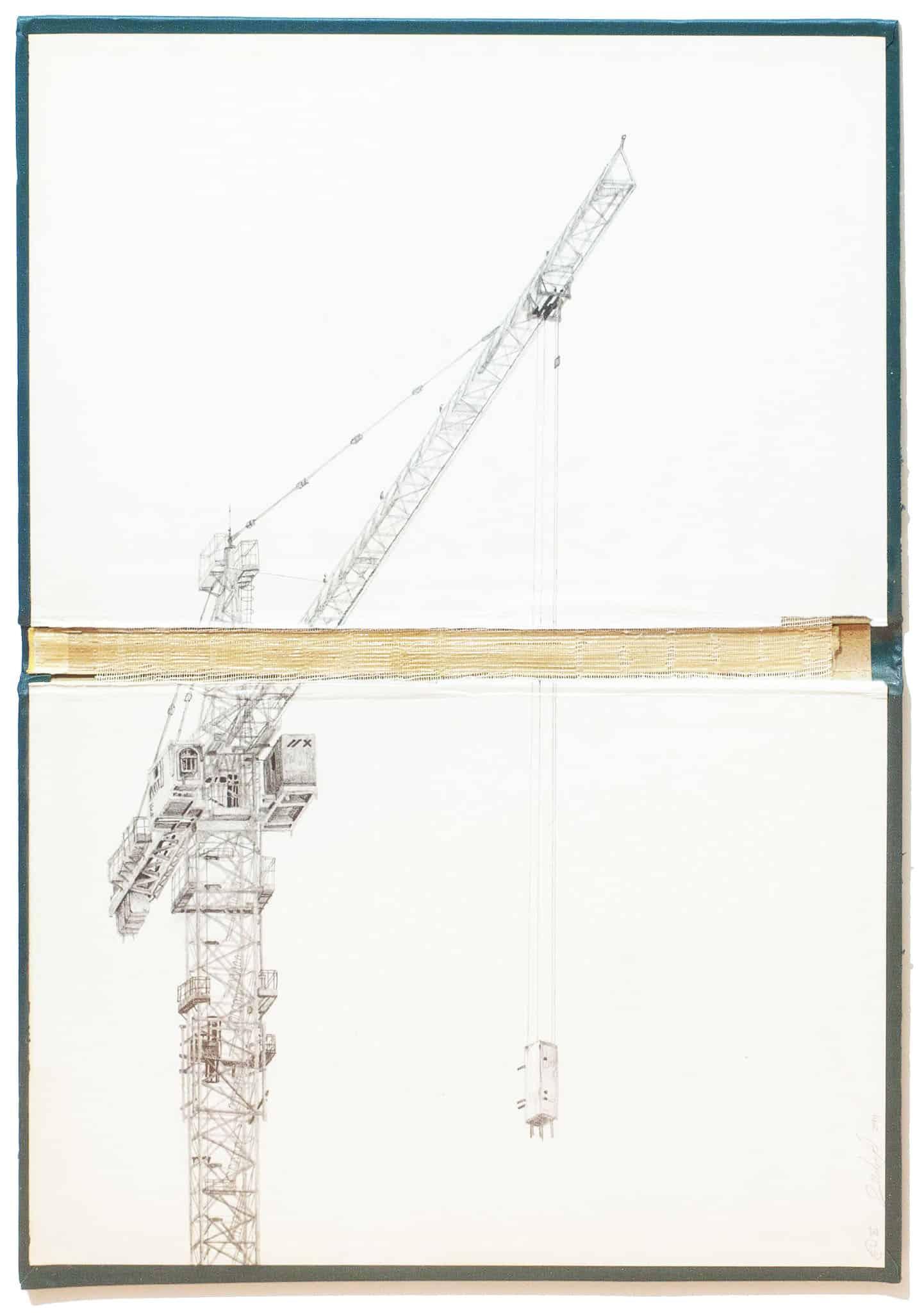 """אמיר תומשוב, """"Abyssus Abyssum Invocat X"""", 2014, גרפיט על כריכת ספר, 31×44 ס""""מ"""