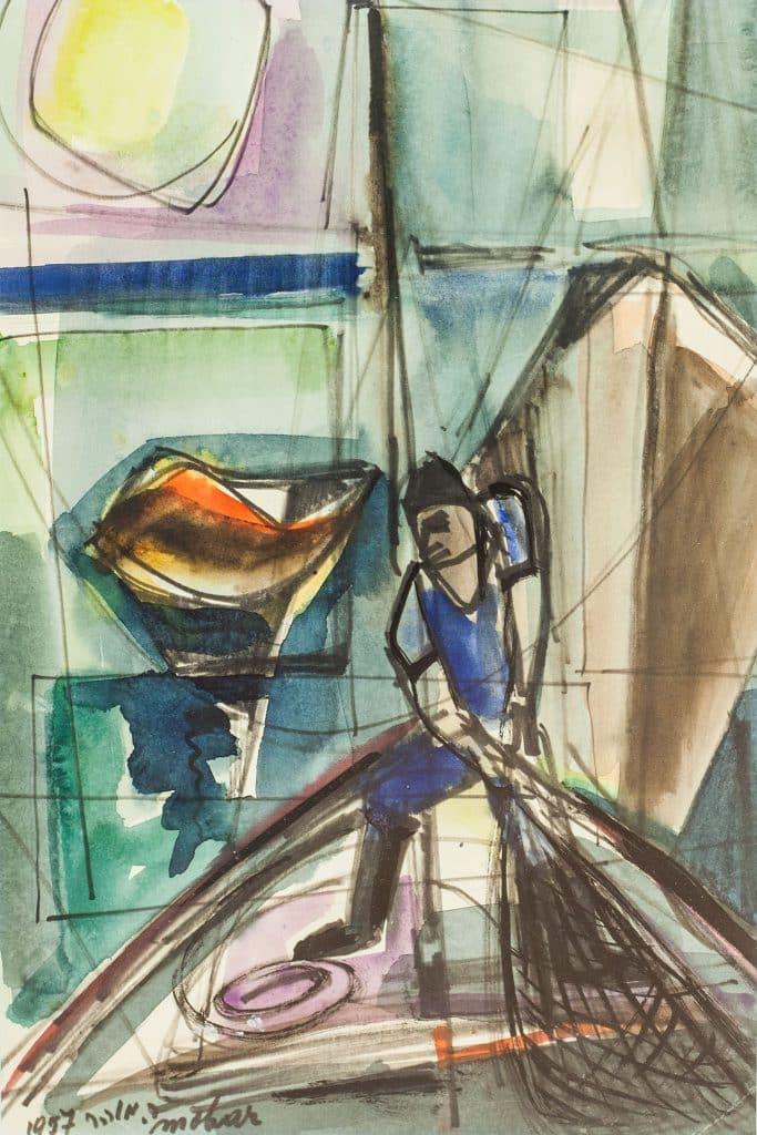 """רפאל מוהר, """"דייג"""", 1957, טוש ואקוורל על נייר, 29x43 ס""""מ"""