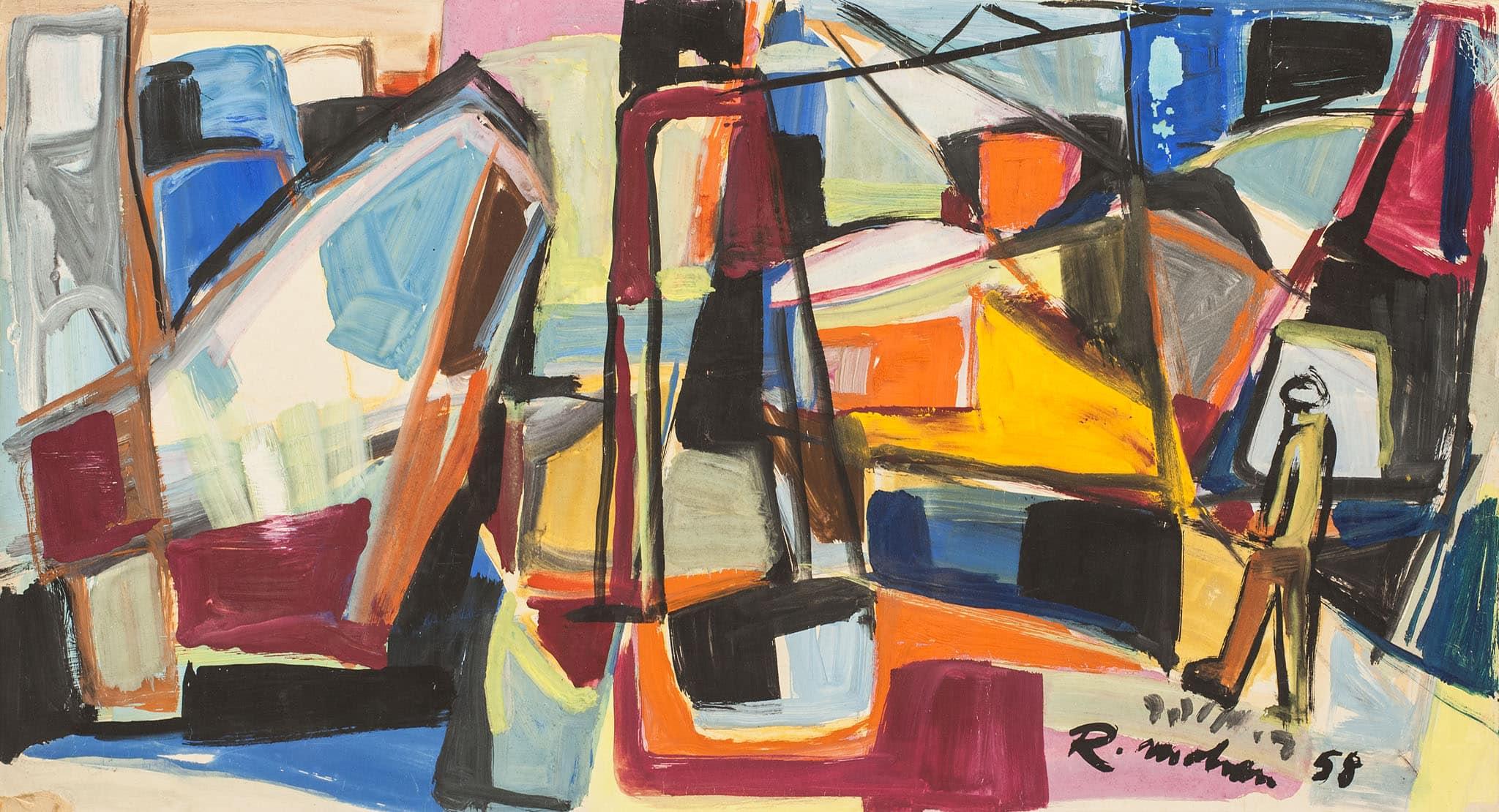 """רפאל מוהר, """"דמות בנמל"""", 1958, גואש על קרטון, 59x32 ס""""מ"""