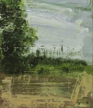 """עופרי מרום, """"נופים בשולי הדרך"""", 2013, שמן על לוח עץ, 25x30 ס""""מ"""