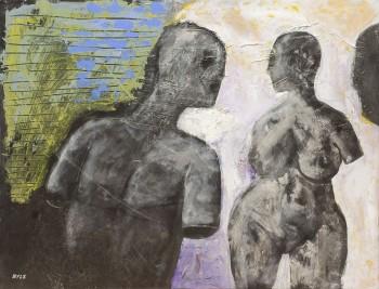 """ג'ון בייל, אקריליק על נייר מוצמד לבד, 64x49 ס""""מ"""