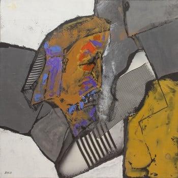"""ג'ון בייל, אקריליק על נייר מוצמד לבד, 49x49 ס""""מ"""