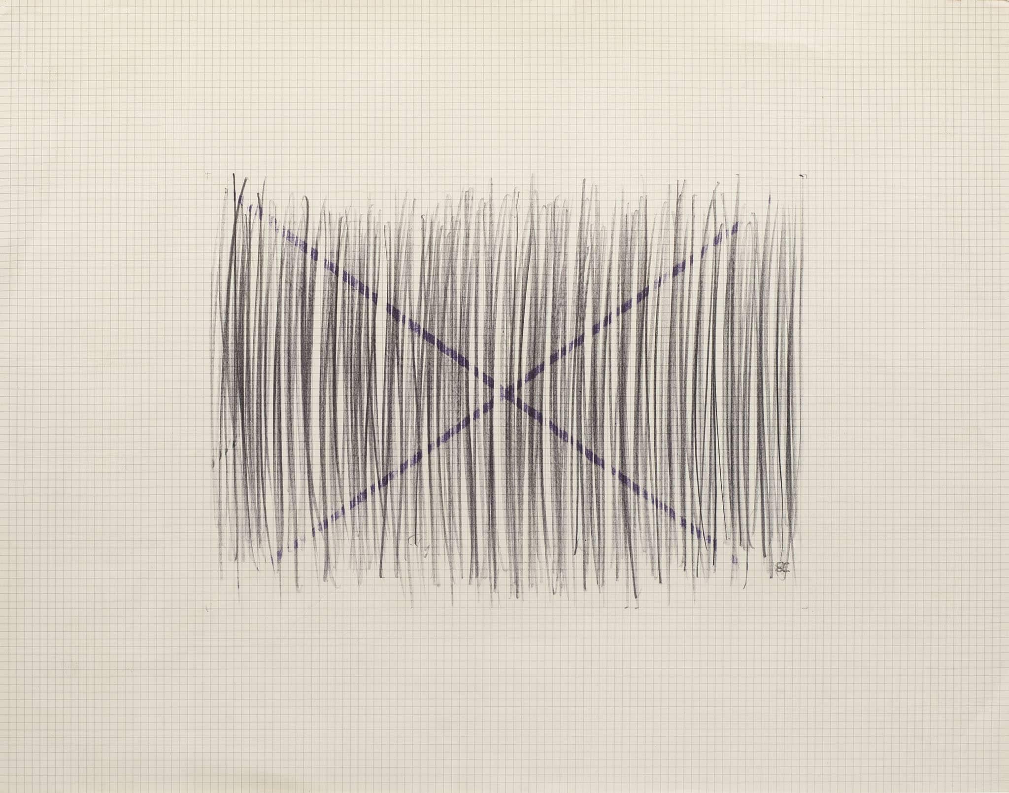 """בני אפרת, עיפרון וטוש על נייר משבצות, 42x33 ס""""מ"""