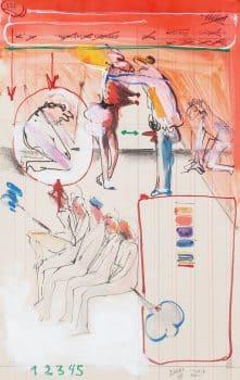 """מיכאל דרוקס, """"ללא כותרת"""", 1971, טכניקה מעורבת על נייר, 29x46 ס""""מ"""