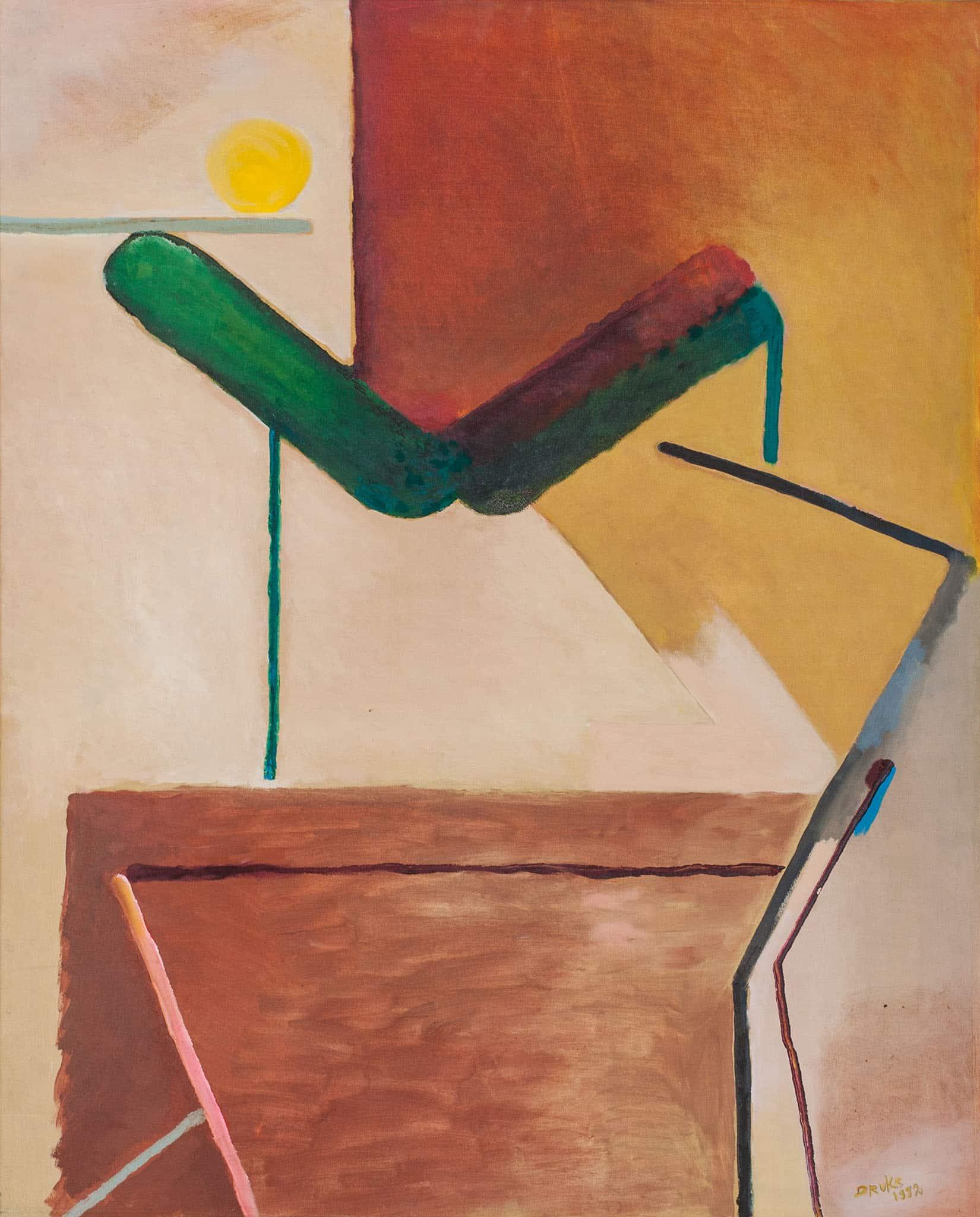 """מיכאל דרוקס, """"ללא כותרת"""", 1992, שמן על בד, 79x98 ס""""מ"""