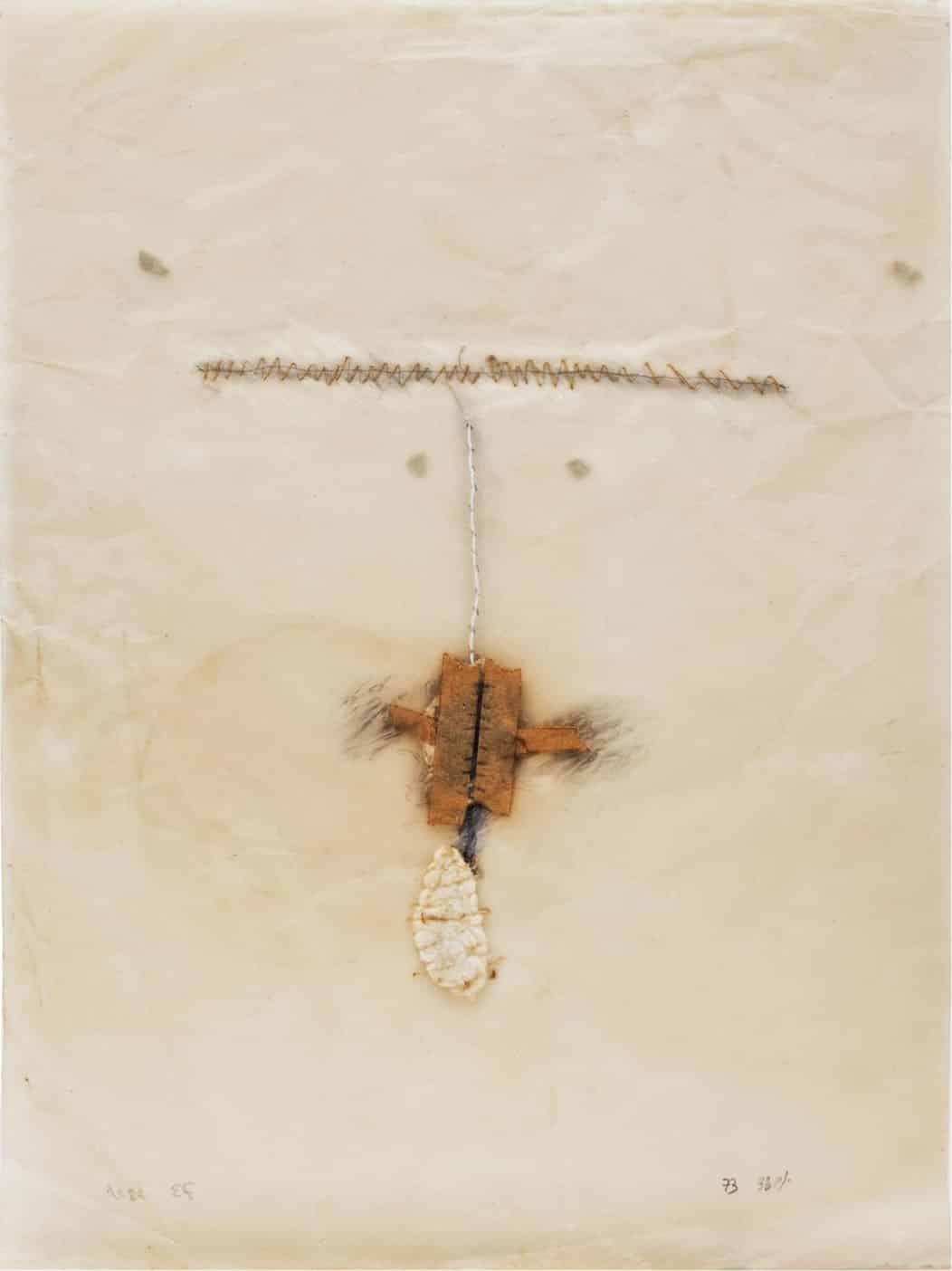 """יוכבד ויינפלד, 1973, טכניקה מעורבת על נייר העתקה, 50x70 ס""""מ"""