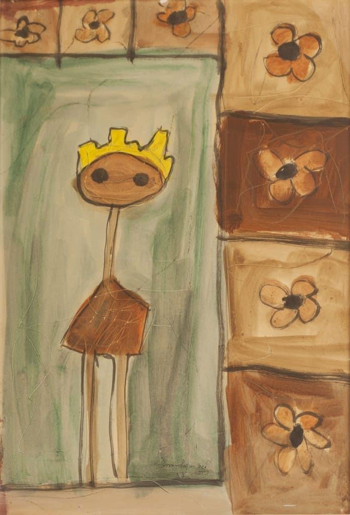 """רפי לביא, """"דמות עם כתר"""", 1958, צבעי מים על נייר, 34x50 ס""""מ"""