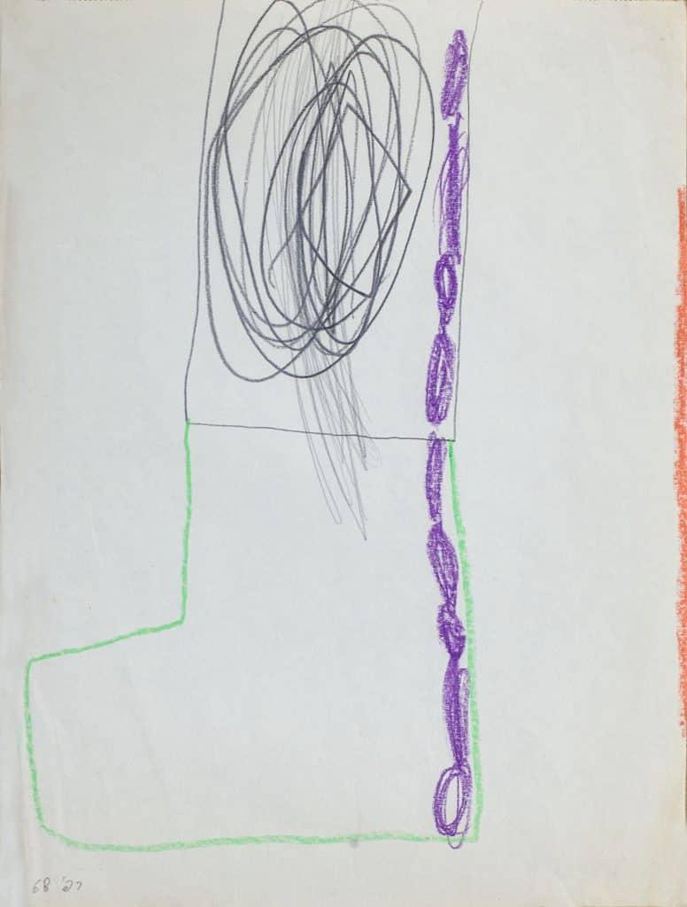 """רפי לביא, """"ללא כותרת"""", 1968, עיפרון ופנדה על נייר, 33x25 ס""""מ"""