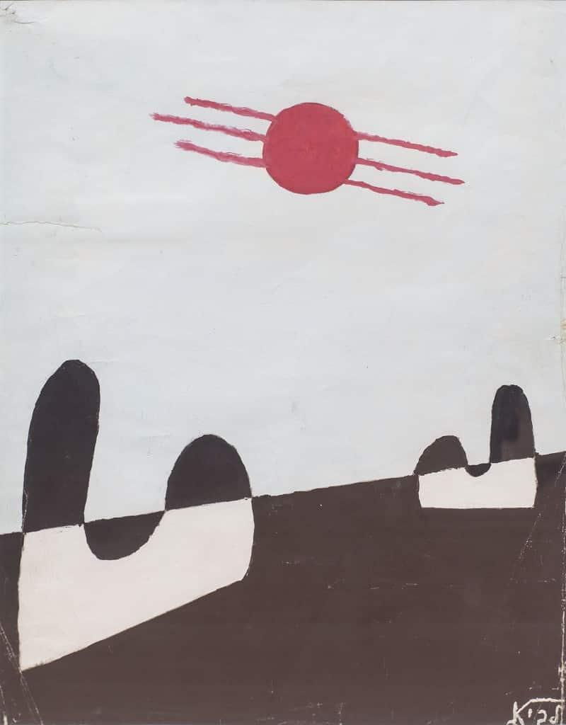 """רפי לביא, """"קומפוזיציה מס' 99"""", 1955, גואש על נייר, 25x35 ס""""מ"""
