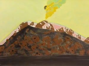 """עודד פיינגרש, """"פנטומים ופצצת אטום"""", 1969, שמן על בד, 80x54 ס""""מ"""