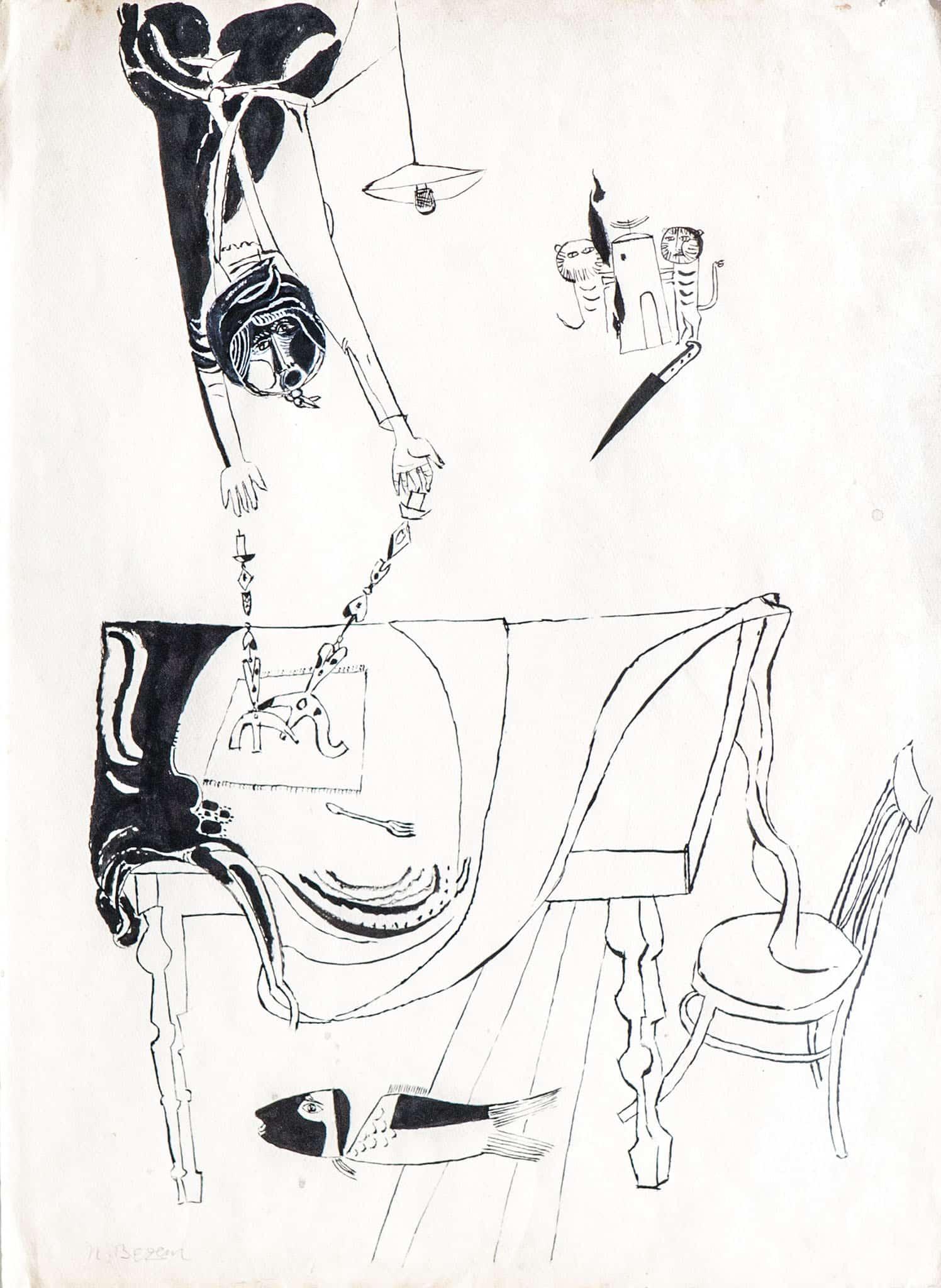 """נפתלי בזם, """"שולחן שבת"""", דיו יפני על נייר, 50x70 ס""""מ"""