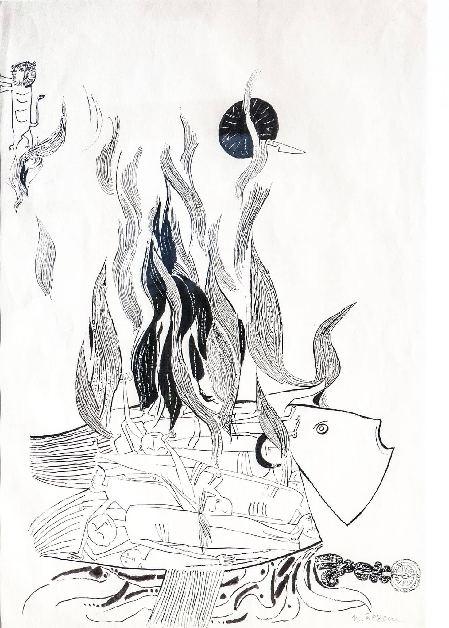 """נפצלי בזם, """"קורבן"""", דיו יפני על נייר, 50x70 ס""""מ"""