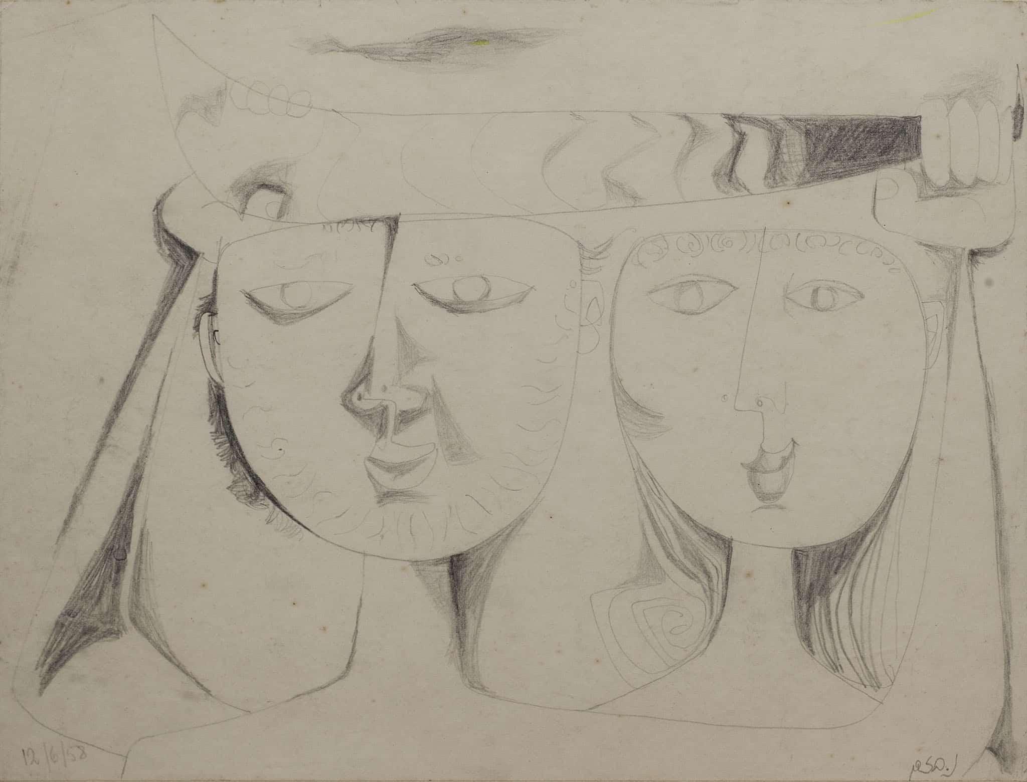 """נפתלי בזם, """"זוג אוהבים"""", 1958, עיפרון על נייר, 42x32 ס""""מ"""