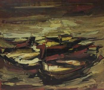 """מאיר שטיינגולד, """"סירות"""", שמן על בד, 75x65 ס""""מ"""