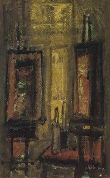 """מאיר שטיינגולד, """"בסטודיו"""", שמן על בד, 45x72 ס""""מ"""
