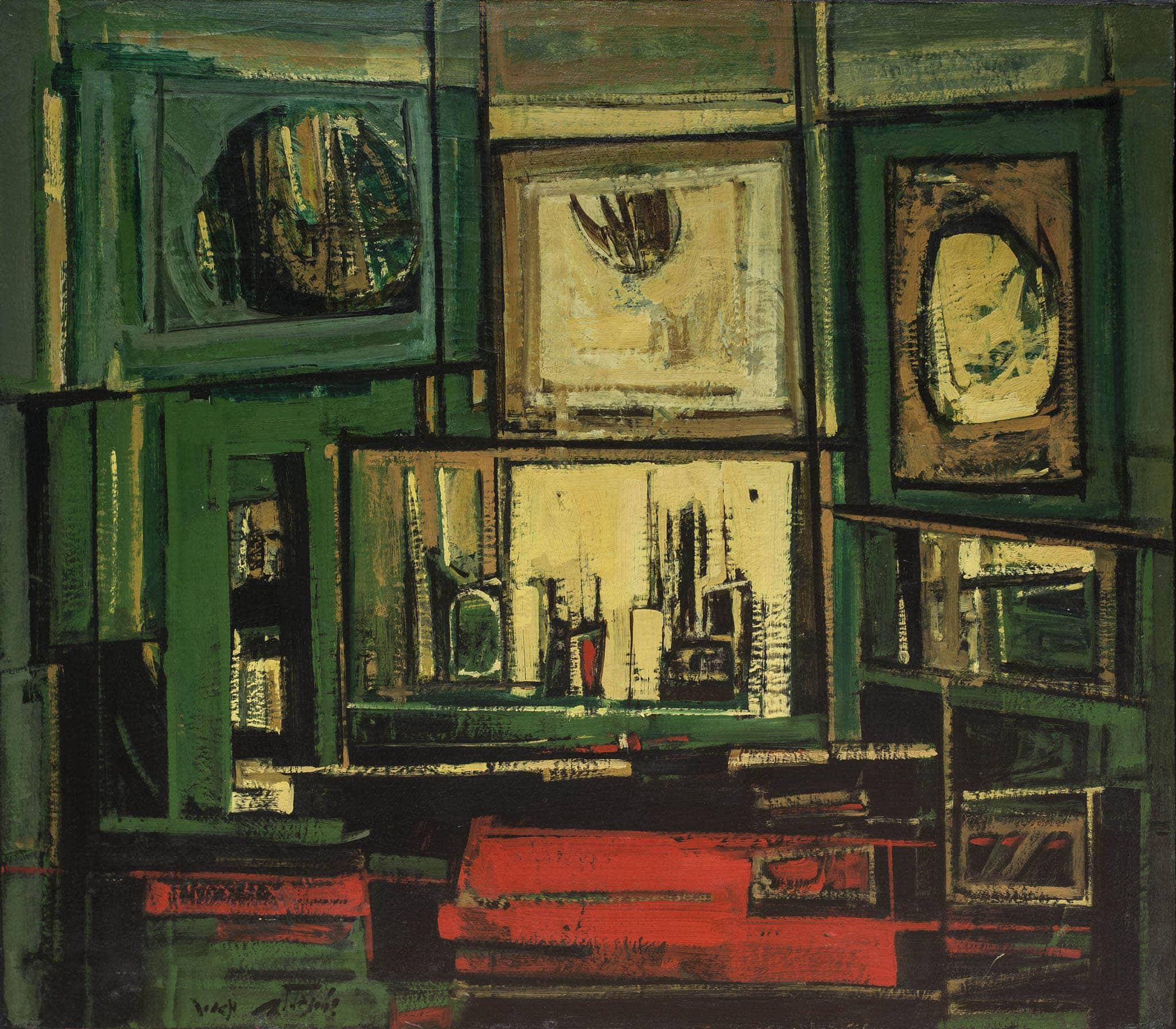 """מאיר שטיינגולד, """"פנים חדר"""", שמן על בד, 70x80 ס""""מ"""