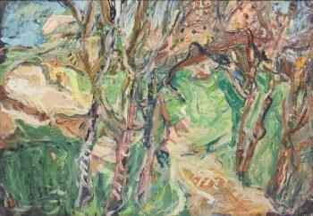 """אליהו גת, """"נוף עם עצים"""", שמן על מזוניט, 81x56 ס""""מ"""