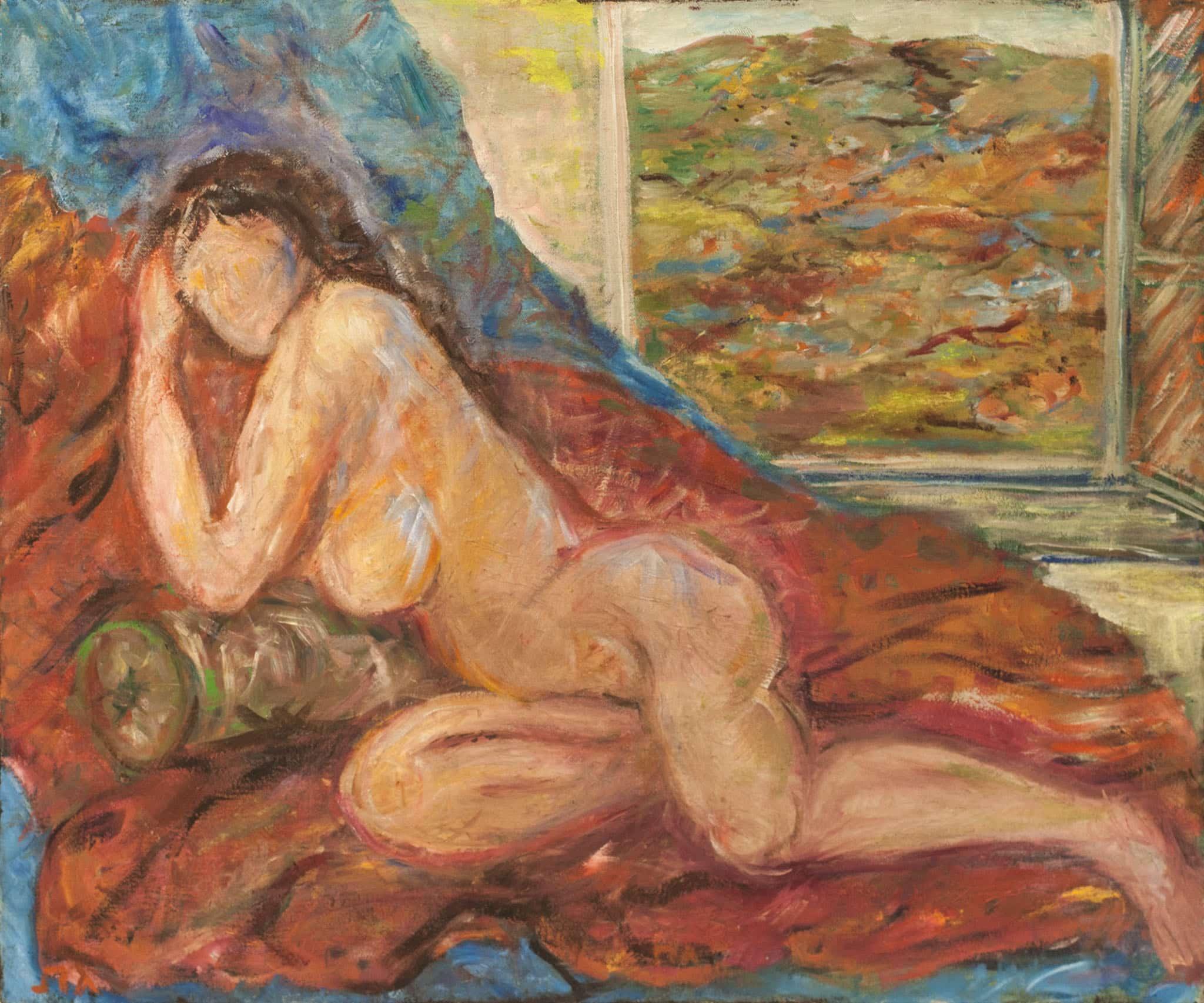 """אליהו גת, """"עירום"""", שמן על בד, 60x50 ס""""מ"""