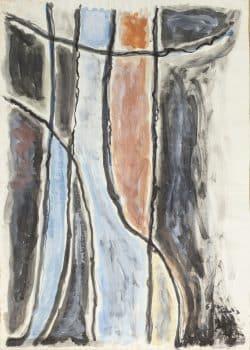 """אהרון כהנא, """"ללא כותרת"""", 1960, גואש על נייר, 50x70 ס""""מ"""