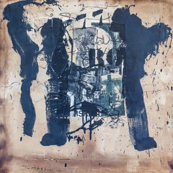 """יגאל תומרקין, """"ללא כותרת"""", 1962, קולאז' ושמן על בד, 60x60 ס""""מ"""