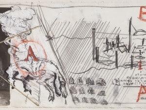 """יגאל תומרקין, """"מחווה לארכימדס"""", 1977, טכניקה מעורבת על נייר, 60x24 ס""""מ"""