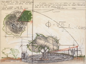 """יגאל תומרקין, """"מעגל אבנים ועץ זית"""", 1980, פנדה, אקוורל וטכניקה מעורבת על נייר, 57x76 ס""""מ"""