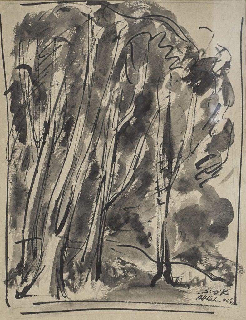 """אהרון כהנא, """"יער"""", 1942-43, דיו וצבע מים על נייר, 20x26 ס""""מ"""