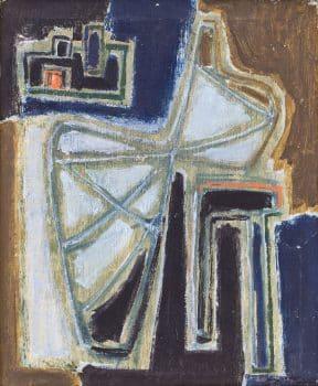 """אהרון כהנא, """"אהרון הנביא"""", 1955, שמן על בד, 37x45 ס""""מ"""