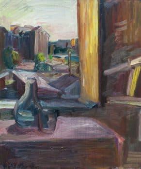 """אוזיאש הופשטטר, """"נוף מן החלון"""", 1947, שמן על עץ, 54x65 ס""""מ"""