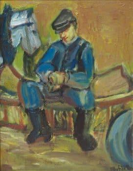 """אוזיאש הופשטטר, """"הסייס"""", שנות ה-40, שמן על עץ, 35x45 ס""""מ"""