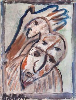 """אוזיאש הופשטטר, אקוורל על נייר, 41x51 ס""""מ"""