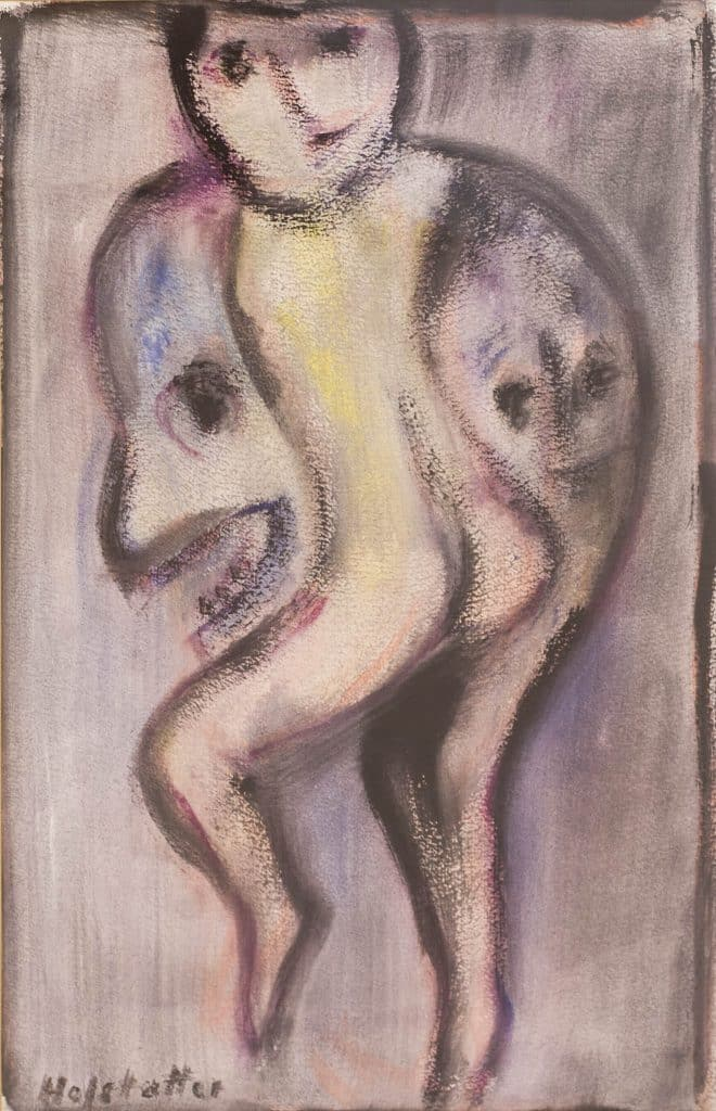 """אוזיאש הופשטטר, אקוורל על נייר, 38x59 ס""""מ"""