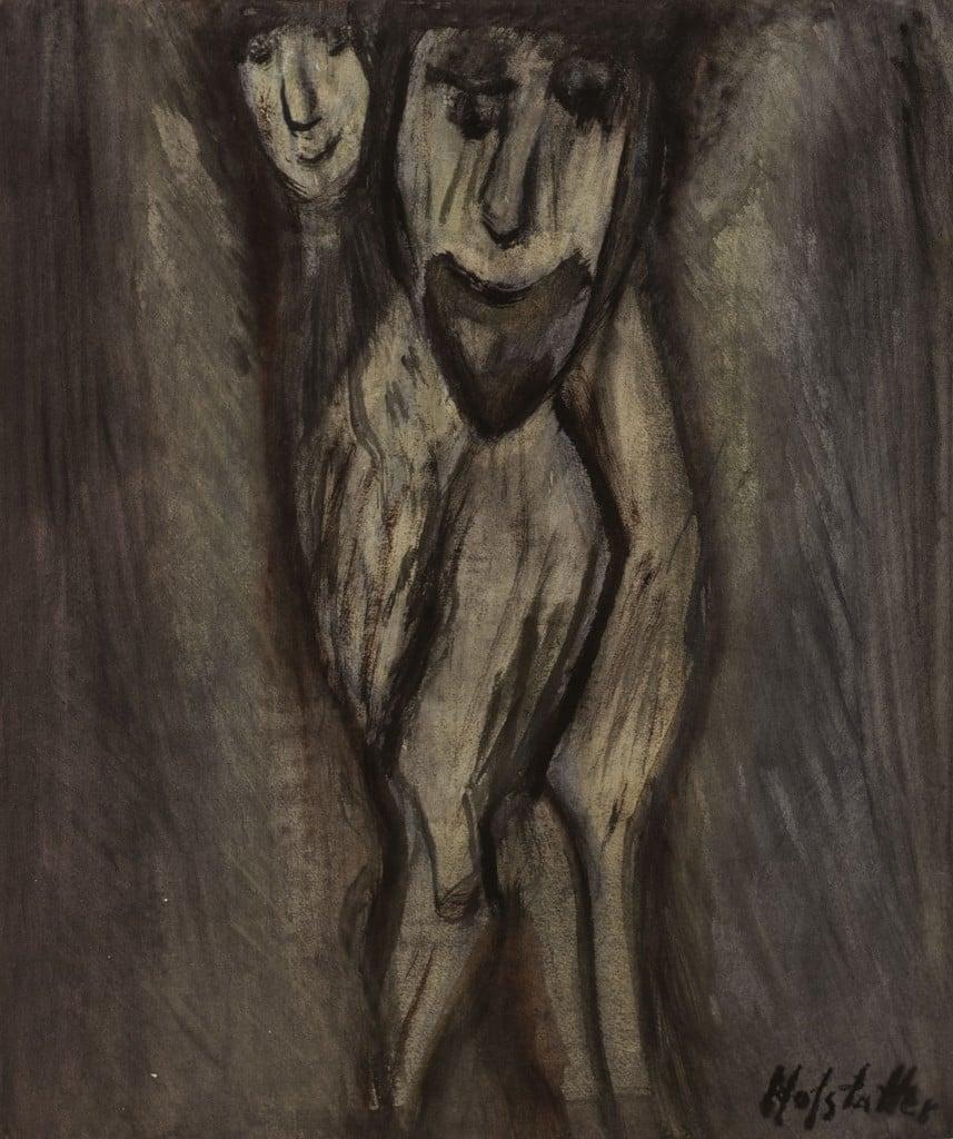 """אוזיאש הופשטטר, """"ללא כותרת"""", צבי מים על נייר, 41x49 ס""""מ"""