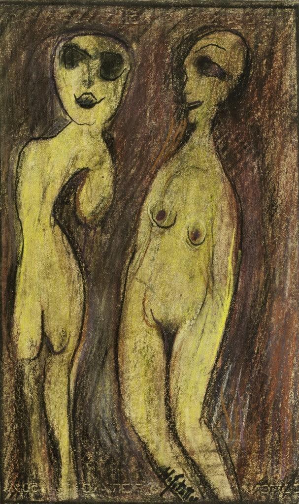 """אוזיאש הופשטטר, """"ללא כותרת"""", עפרונות צבעוניים על נייר, 34x56 ס""""מ"""