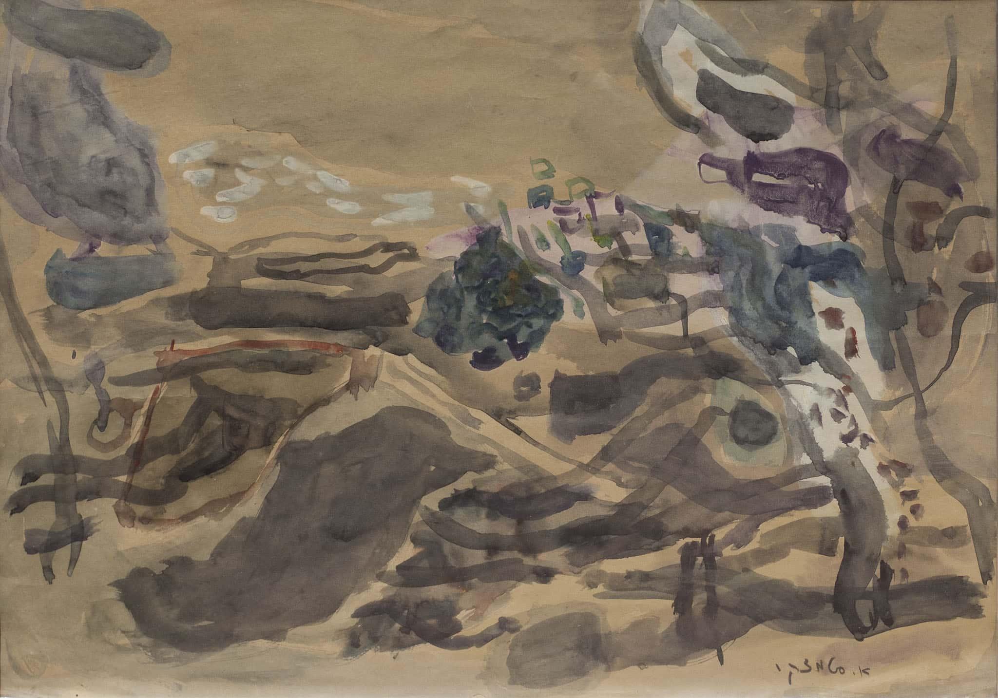 """אביגדור סטימצקי, """"נוף צפתי"""",  אקוורל על נייר, 50x35 ס""""מ"""