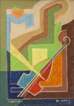 """יצחק אמיתי, """"כינור"""", שמן על מזוניט, 35x50 ס""""מ"""