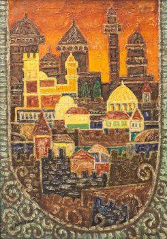 """יצחק אמיתי, """"ירושלים אגדה"""", שמן על בד, 65x93 ס""""מ"""