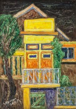 """יצחק אמיתי, """"בית בצפת"""", שמן על בד, 35x50 ס""""מ"""