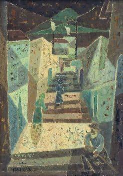 """יצחק אמיתי, """"המדרגות"""", שמן על בד, 45x64 ס""""מ"""