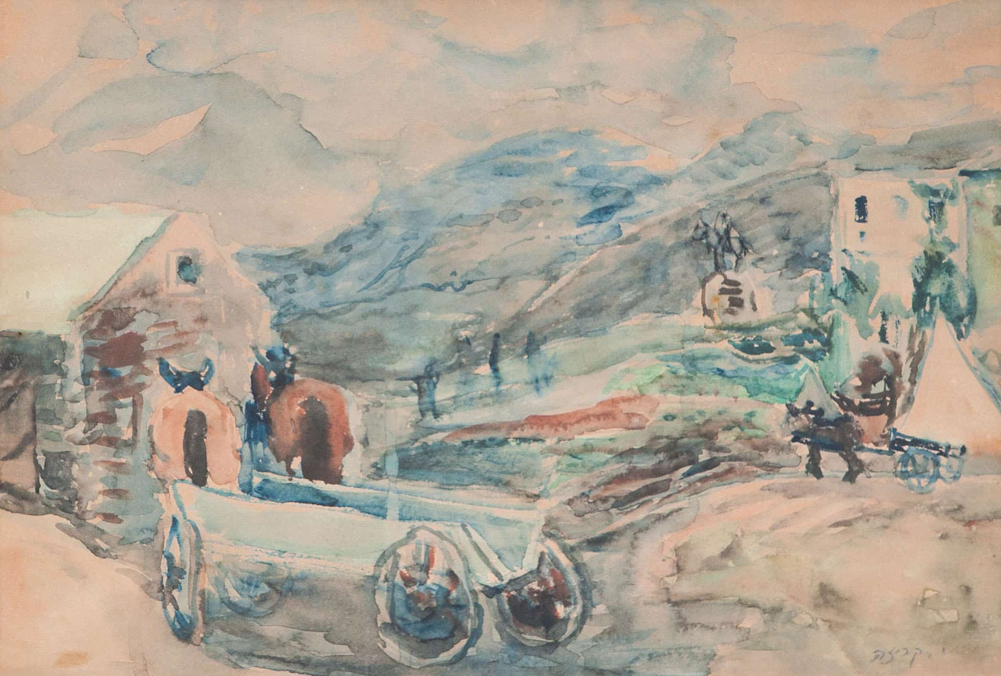"""יחיאל קריזה, """"כפר"""", אקוורל על נייר, 40x28 ס""""מ"""