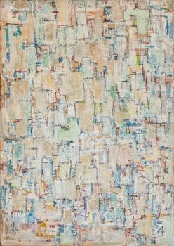"""יחיאל קריזה, """"ללא כותרת"""", שמן על נייר מוצמד לבד, 51x72 ס""""מ"""