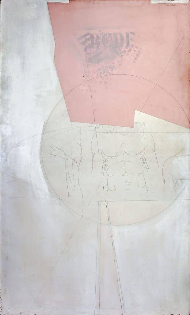 """הנרי שלזניאק, """"ללא כותרת"""", 1970, שמן ועיפרון על בד, 100x167 ס""""מ"""