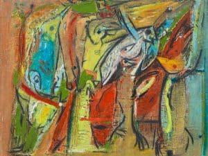 """אהרון מסג, """"ציפורים"""", שמן על בד, 35x31 ס""""מ"""