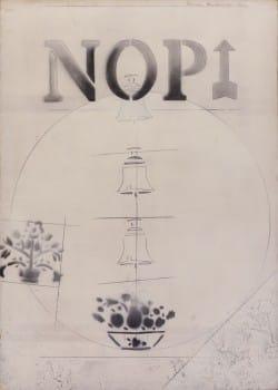 """הנרי שלזניאק, """"ללא כותרת"""", 1970, עיפרון, דיו לחותמות וצבע תעשייתי על נייר מוצמד ללוח עץ, 50x70 ס""""מ"""